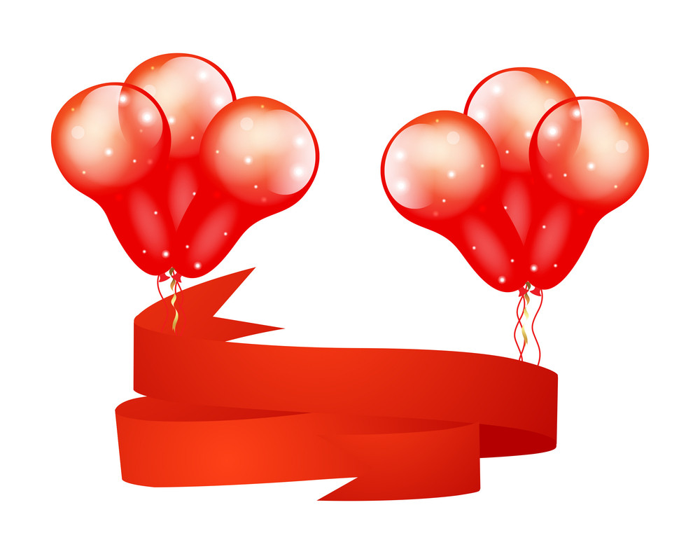 Glossy Balloons Bunch With Ribbon Banner