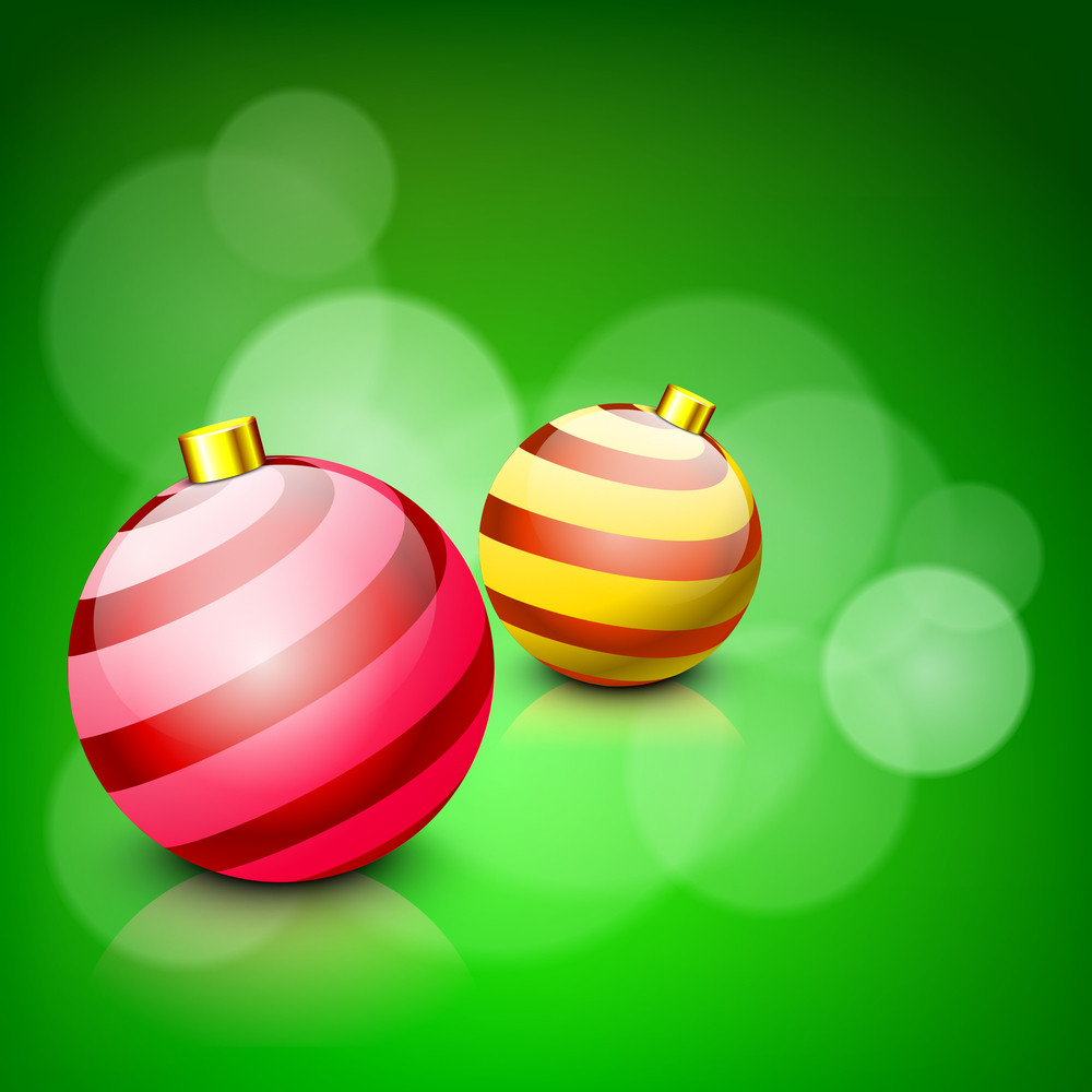 Glossy Christmas Balls On Green Abstract Light Background.