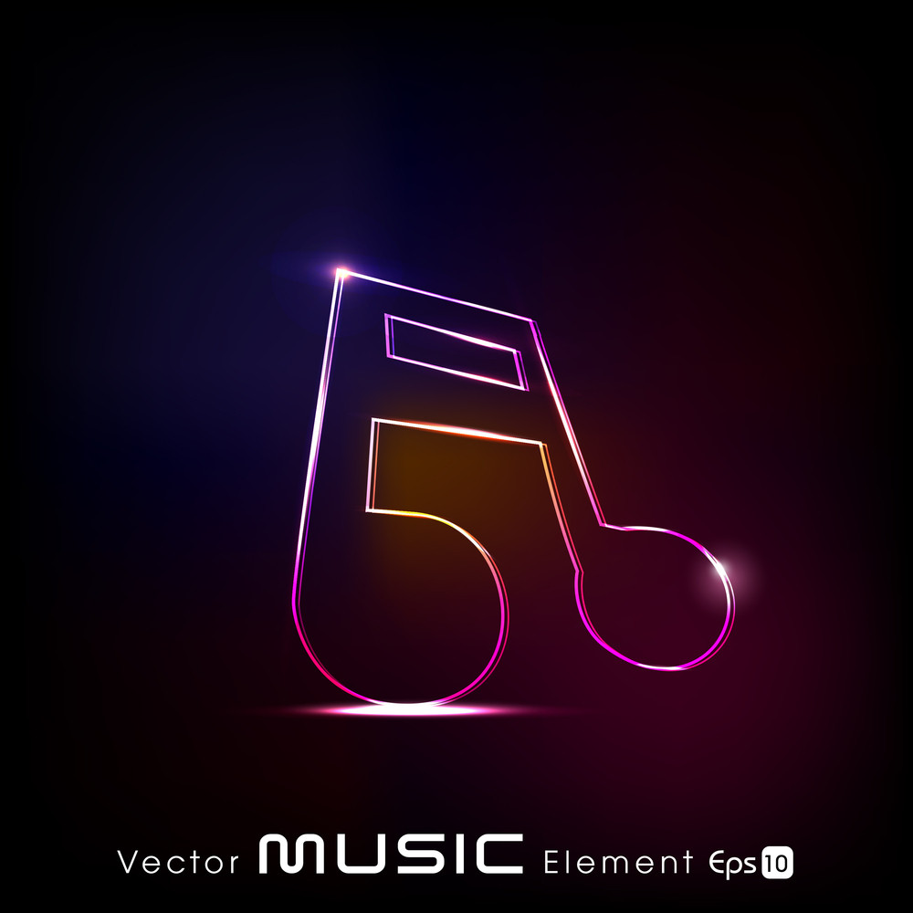 Glossy Colorful Music Notes Theme For Design Use