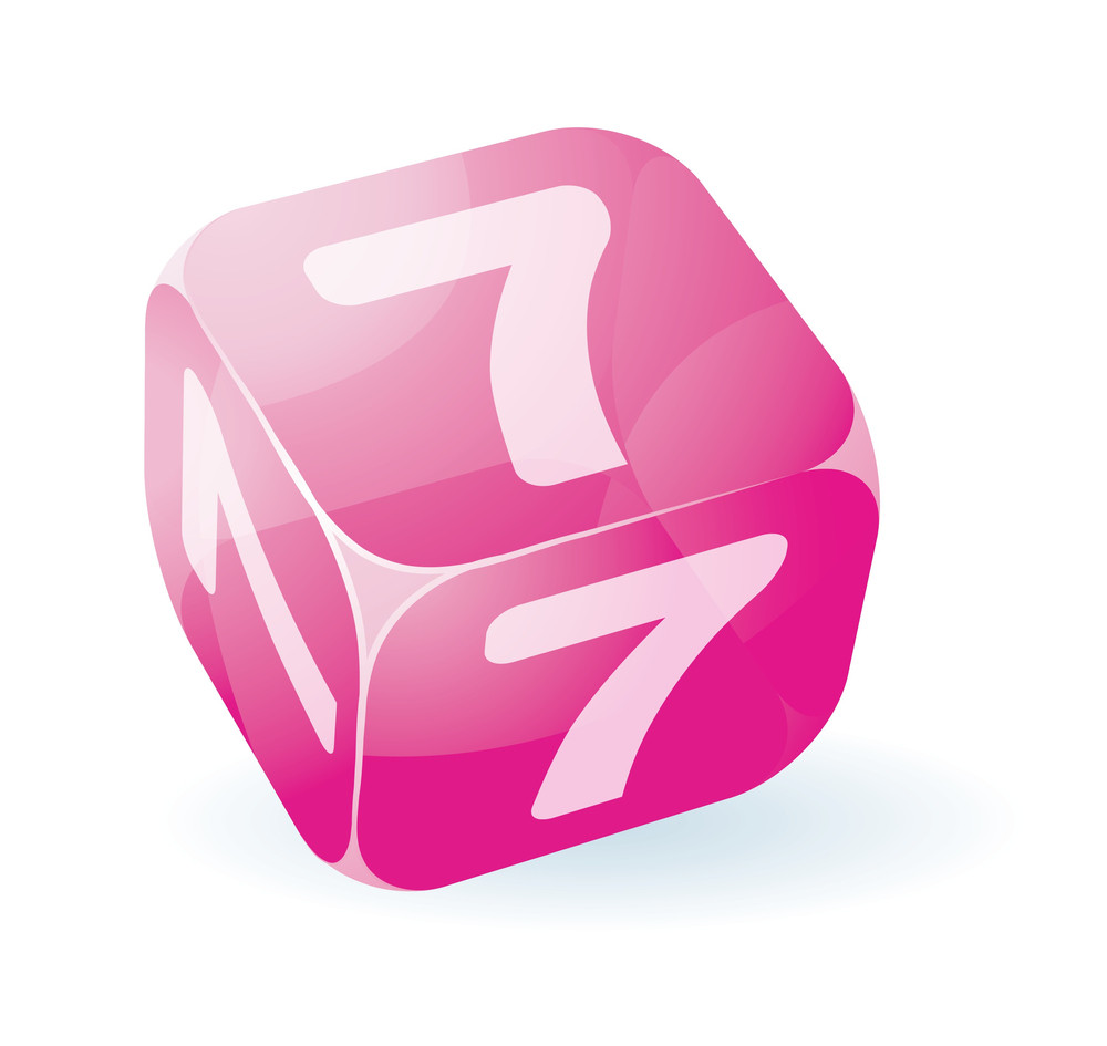 Glossy Cubic Figures. Digit 7. Vector.