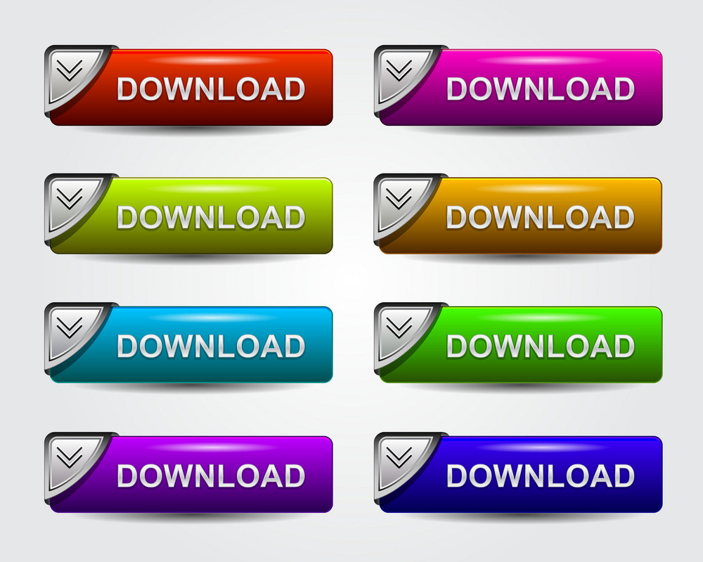 Glossy Download Buttons Set Vector Illustration