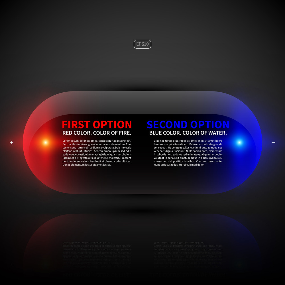 Glossy Glowing Banner With Two Options. Useful For Web Design Or Presentations.