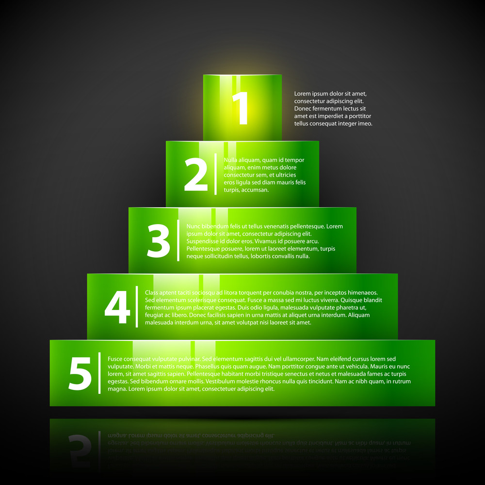 Glossy Green Pyramid With Text And Numbers. Useful For Infographics