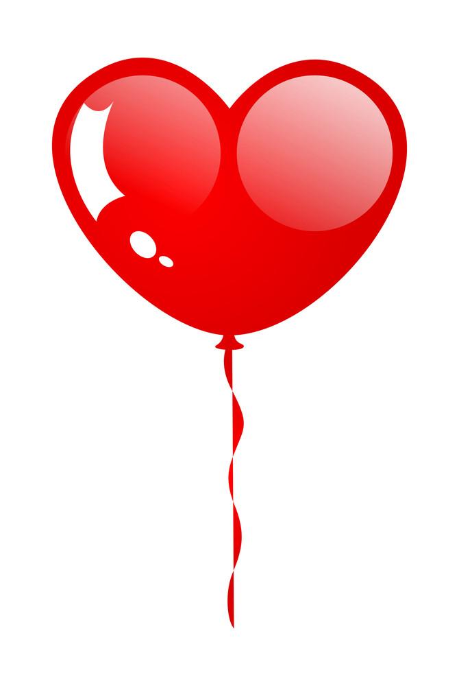 Glossy Heart Balloon Vector Art