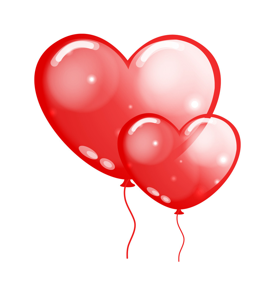 Glossy Heart Balloons Illustration