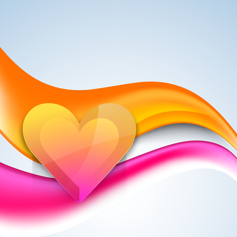 Glossy Heart On  Waves Background
