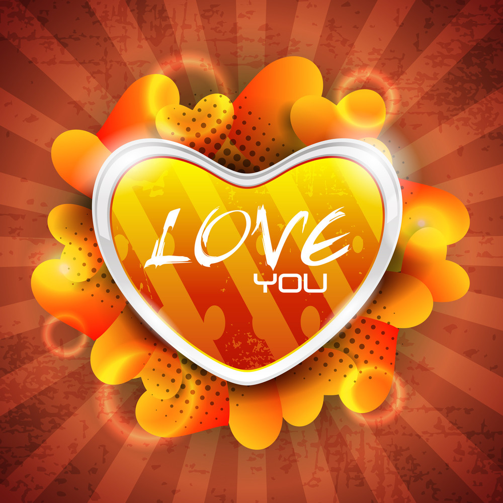 Glossy Heart Shape On Grungy Rays Background With Lots Of Heart Shapes.