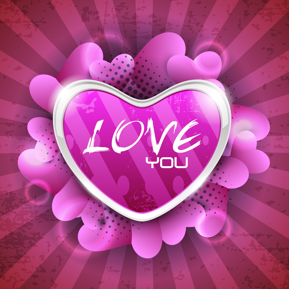 Glossy Heart Shape On Grungy Rays Background With Lots Of Heart Shapes