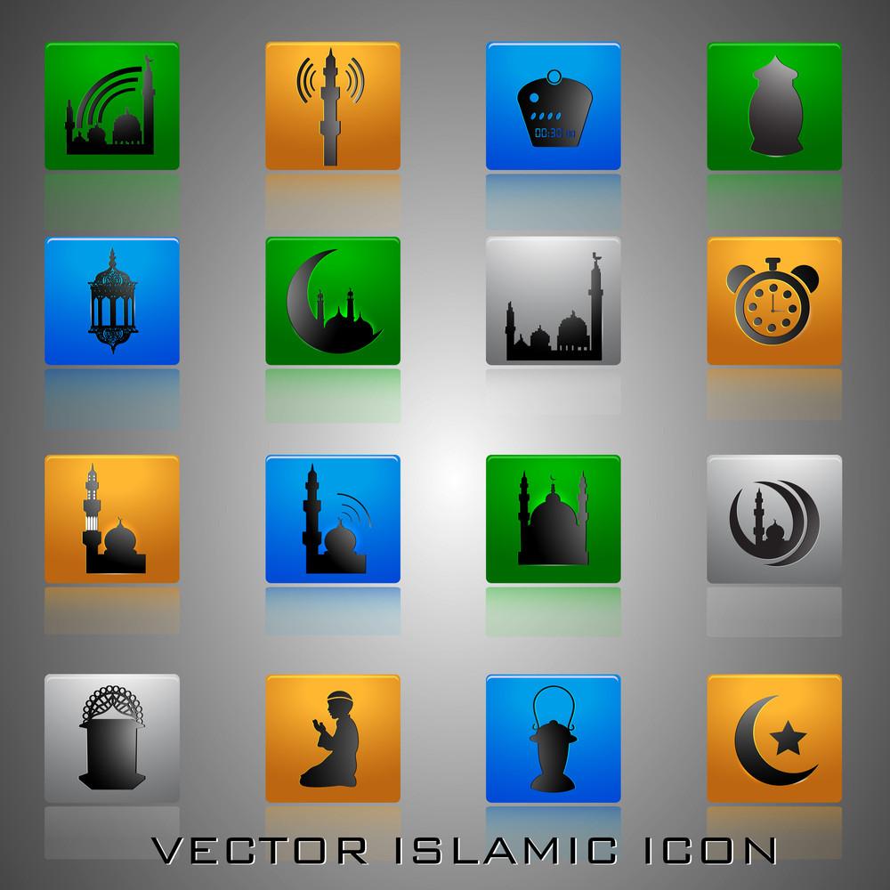 Glossy Islamic Icons Set.