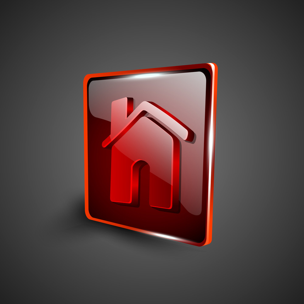 Glossy Red 3d Web 2.0 Home Or Homepage Symbol Icon Set.