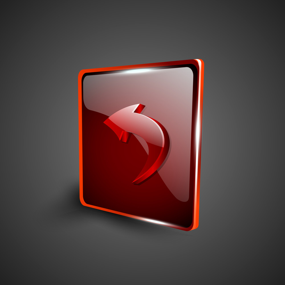 Glossy Red 3d Web 2.0 Left Arrow Symbol Icon Set.