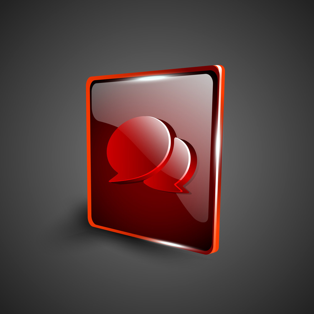 Glossy Red 3d Web 2.0 Messenger Symbol Icon Set.