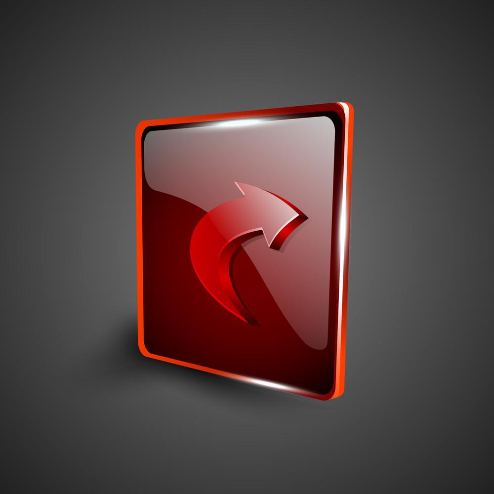 Glossy Red 3d Web 2.0 Right Arrow Symbol Icon Set.