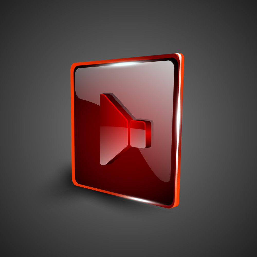 Glossy Red 3d Web 2.0 Sound Symbol Icon Set.