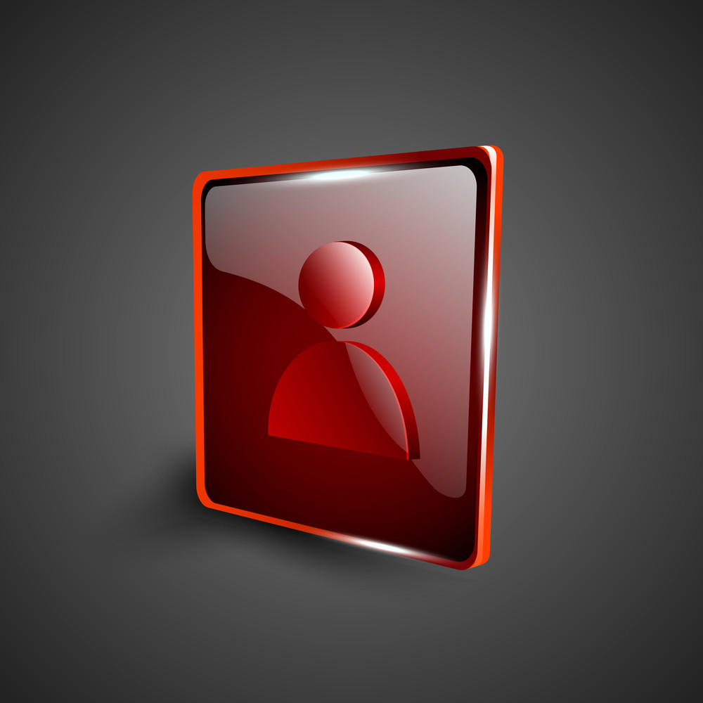 Glossy Red 3d Web 2.0 Web Users Symbol Icon Set.