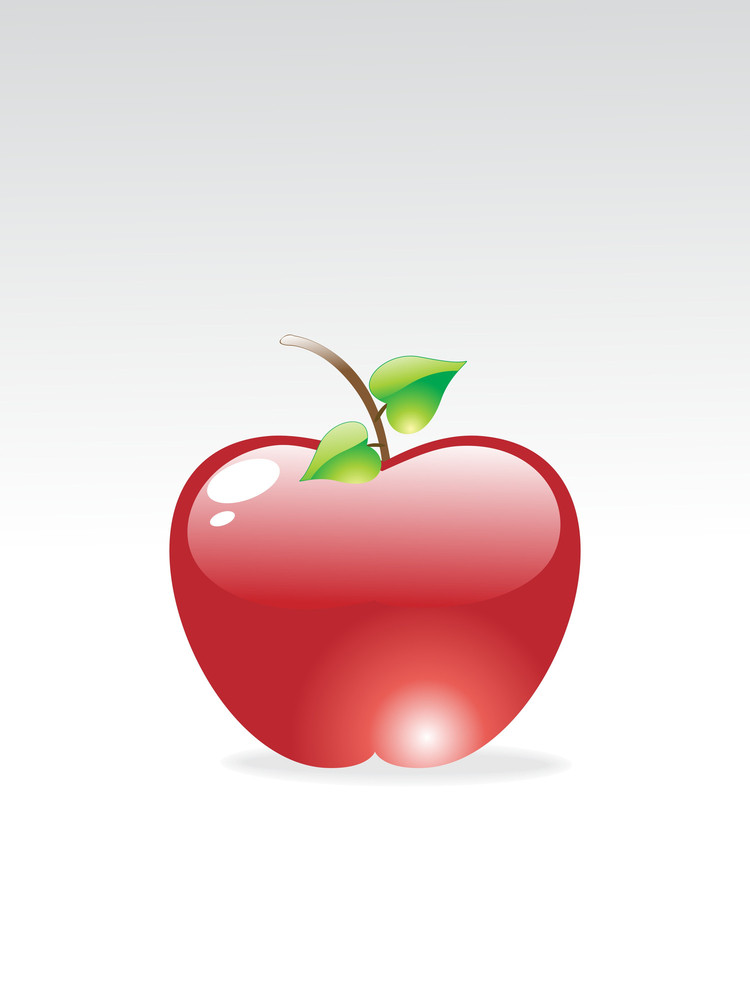 Glossy Red Apple On A Grey Background