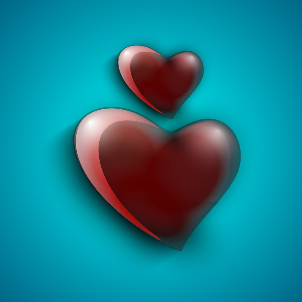 Glossy Red Hearts On Blue Background