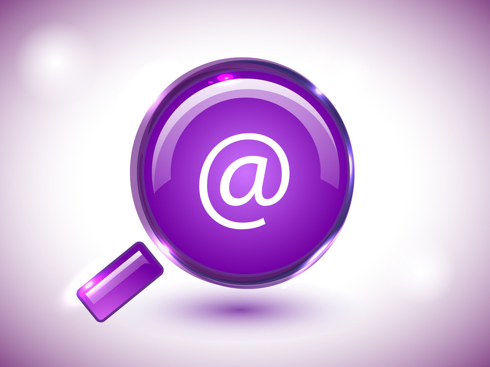 Glossy Search Icon In Purple Background.