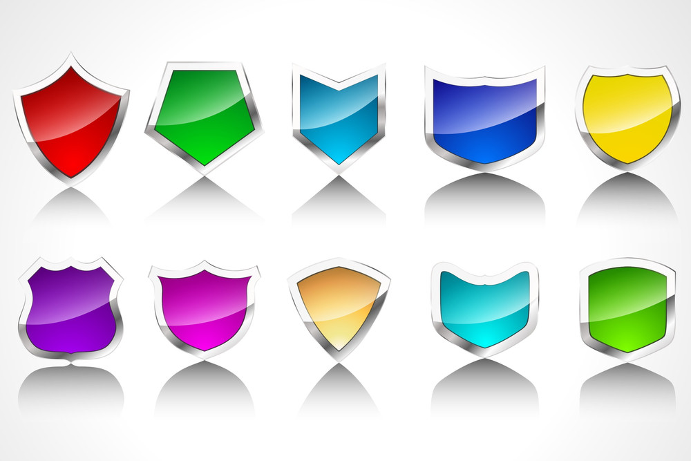 Glossy Shields Vector Icons