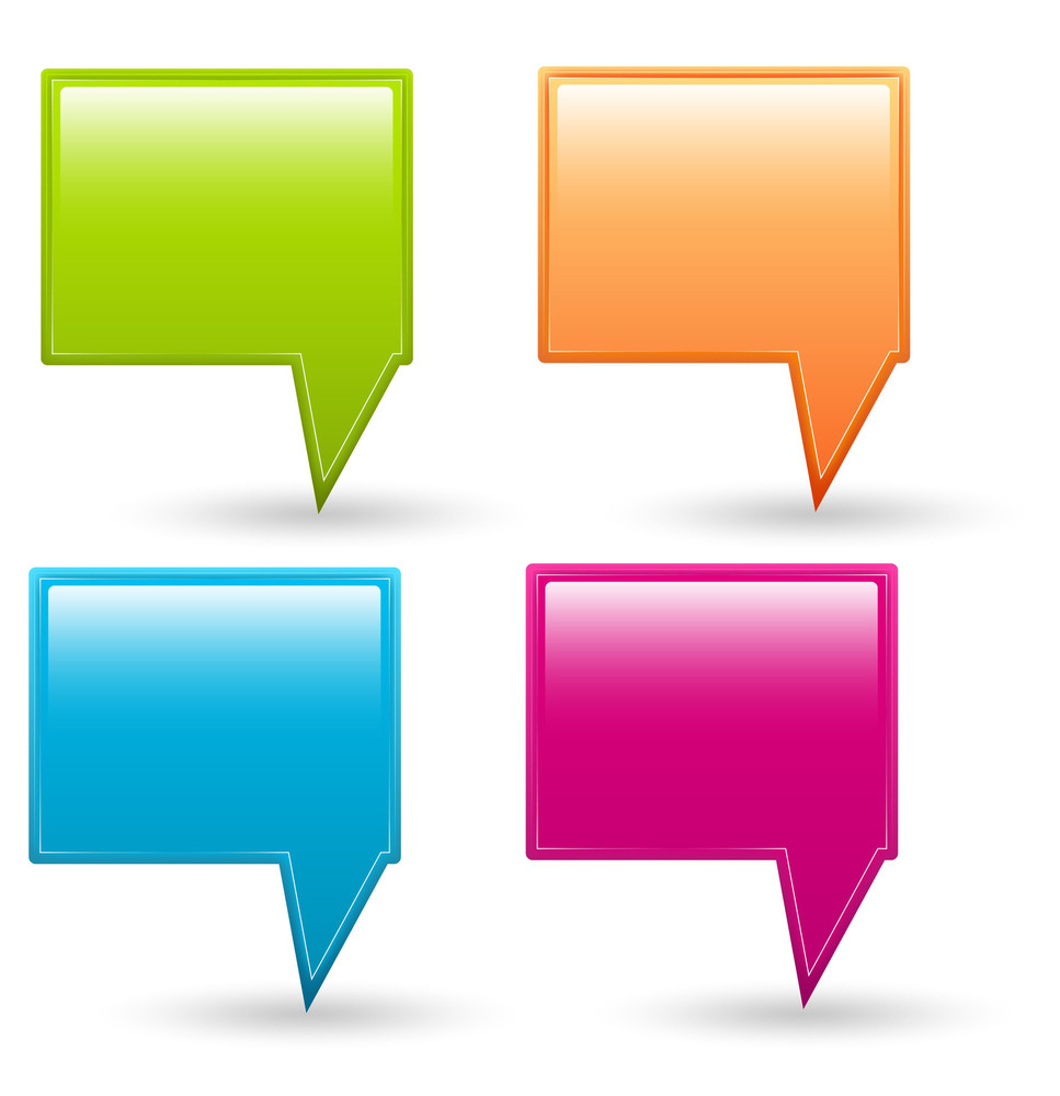 Glossy Speech Bubble Icons Vectors