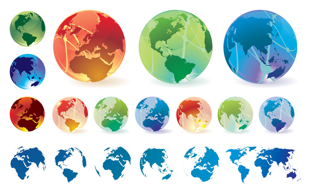 Glossy Transparent Vector Globes And Maps.