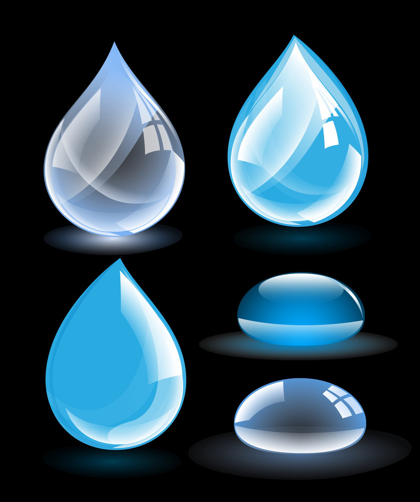 Glossy Waters Drops Vectors