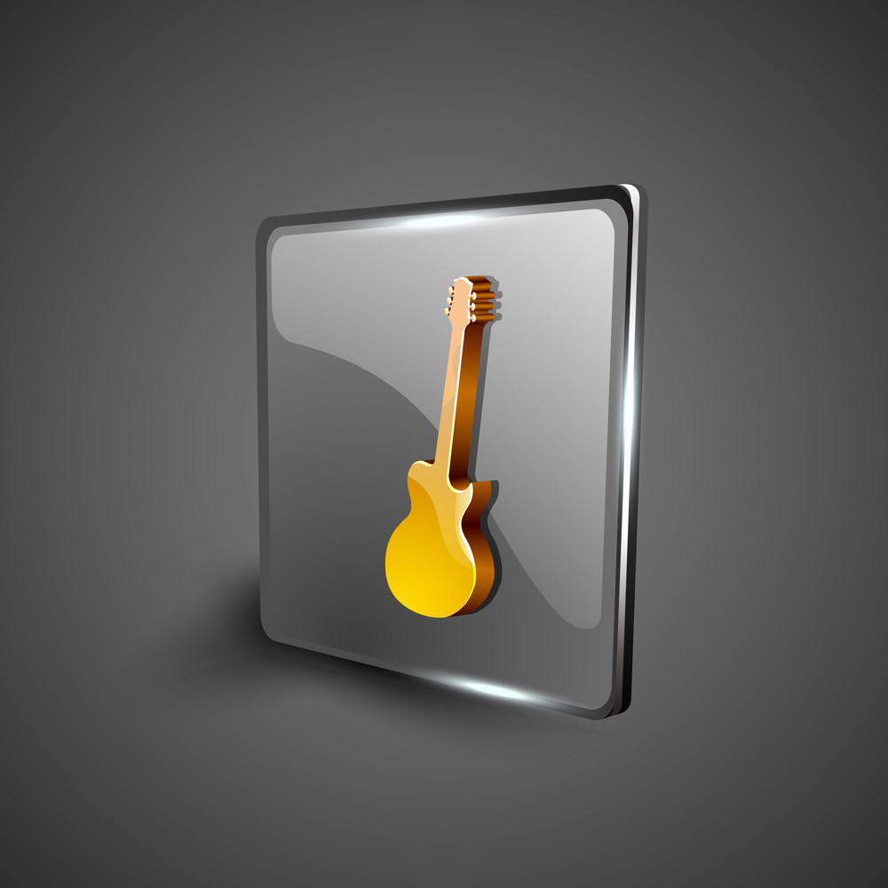 Glossy Web 2.0 Music Icon With Guitar.