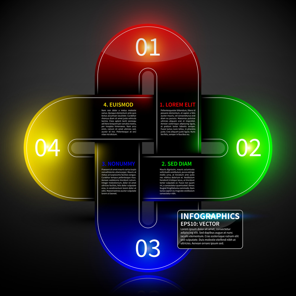 Glowing Colorful Design Layout With Four Round Intersecting Elements. Useful For Presentations Or Advertising.