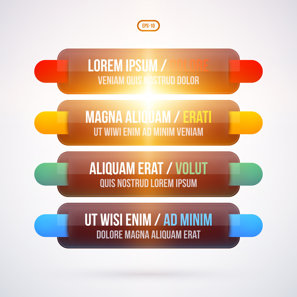 Glowing Menu With Four Options. Eps10