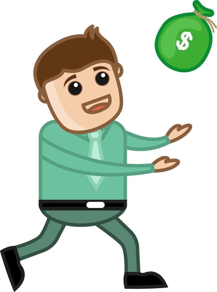 Go Catch The Money - Business Cartoon