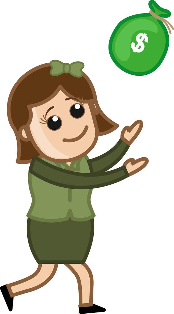 Go For Instant Money - Business Cartoon Character Vector