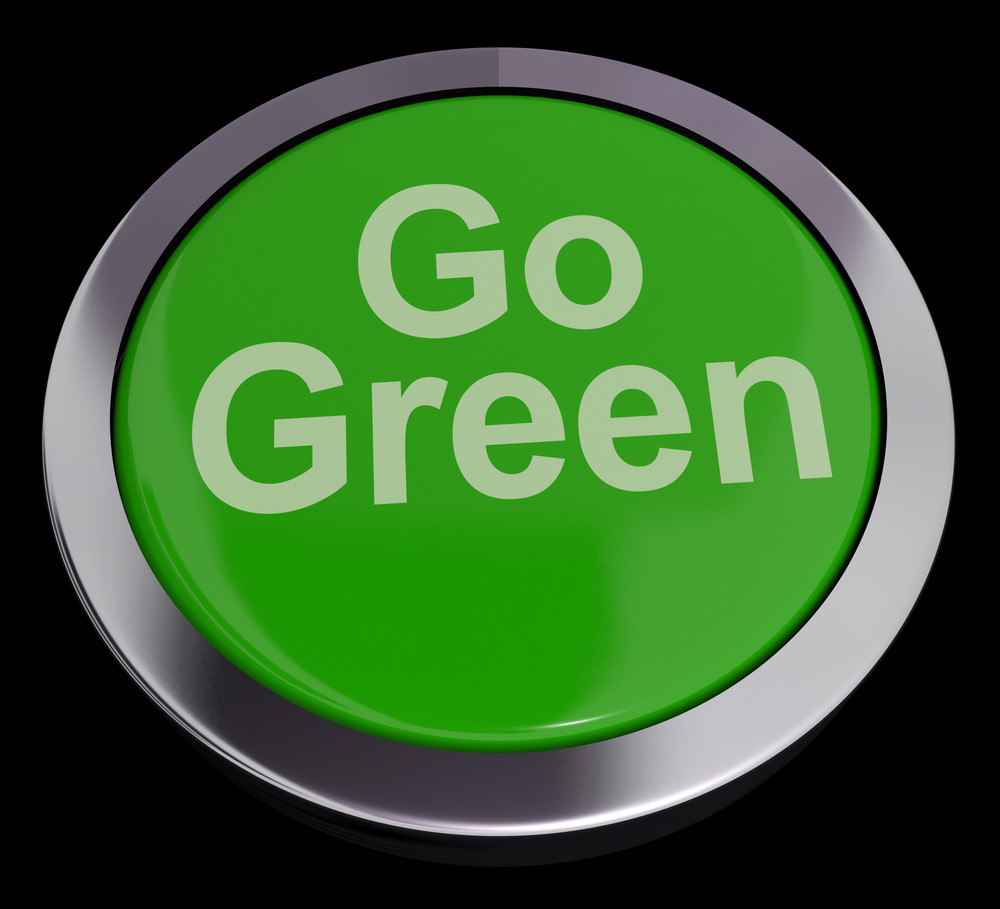 Go Green Button Showing Recycling And Eco Friendly