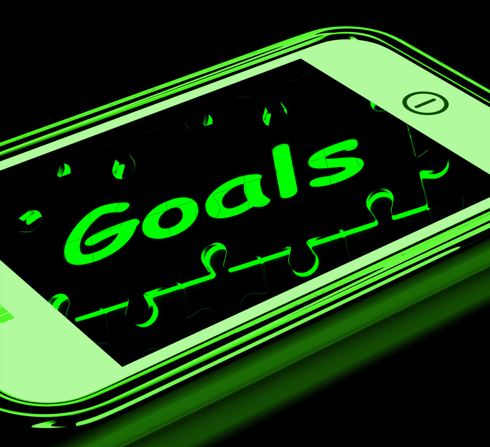 Goals On Smartphone Shows Targets And Objectives