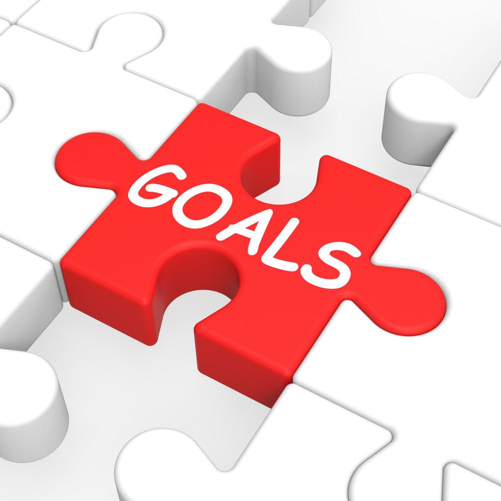 Goals Puzzle Showing Aspiration Targets