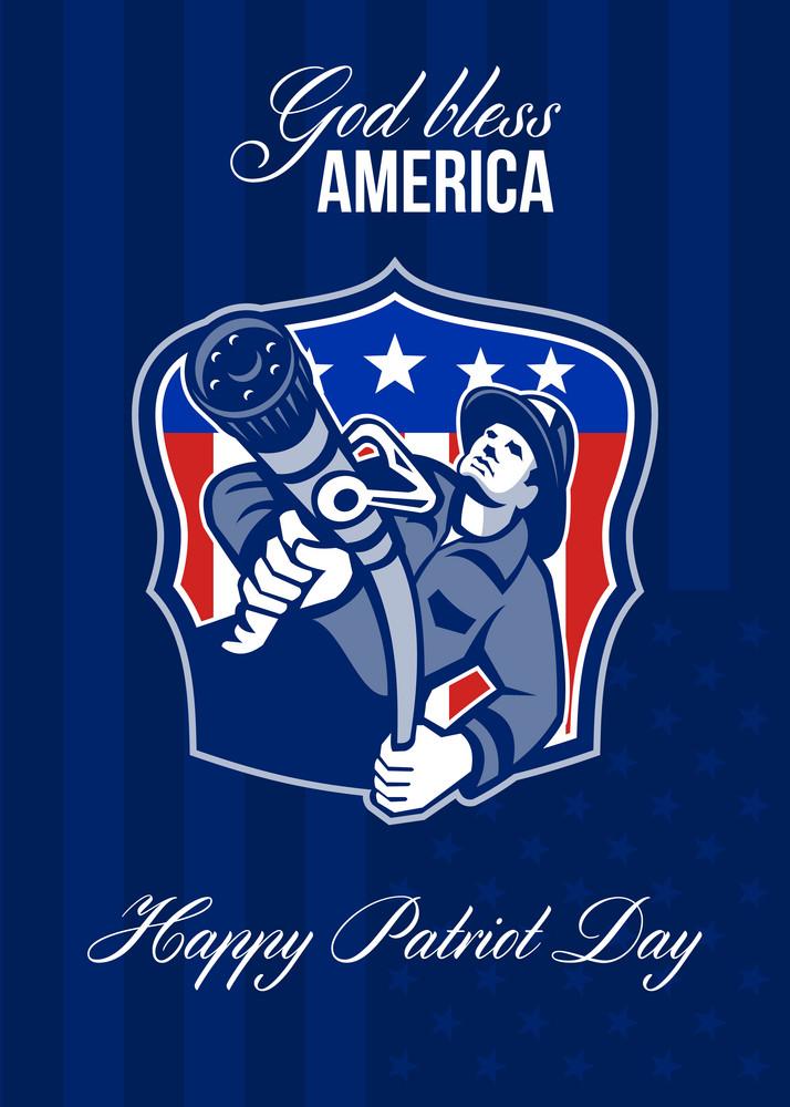 God Bless America Happy Patriot Day Poster