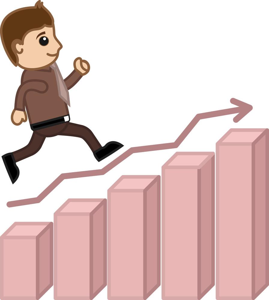Going Towards Success - Business Cartoon