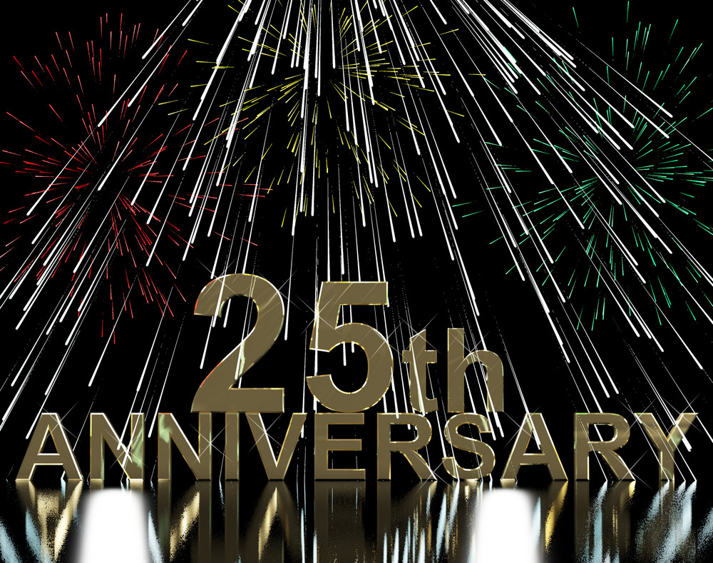 Gold 25th Anniversity With Fireworks For Twenty Fifth Celebration Or Party