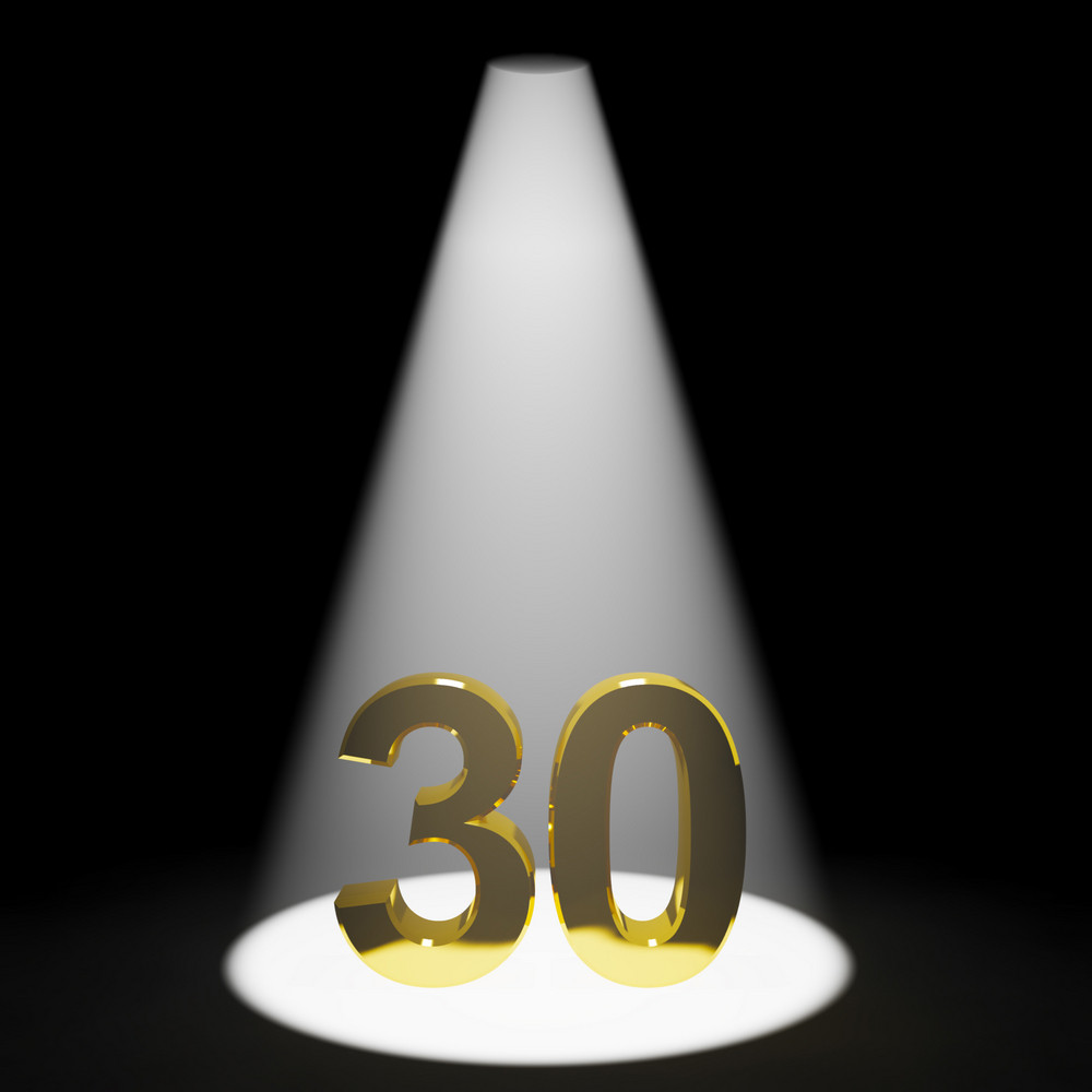 Gold 30th Or Thirty 3d Number Representing Anniversary Or Birthday