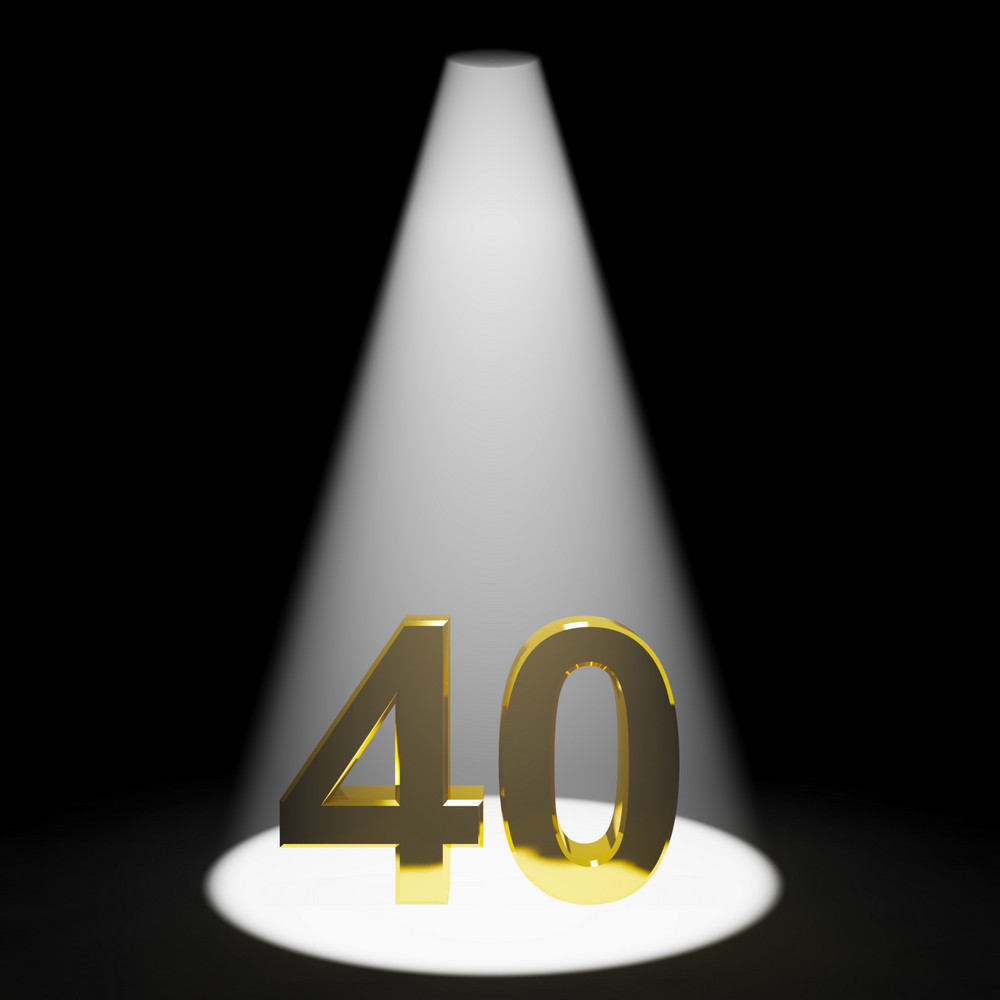 Gold 40 Or Forty 3d Number Closeup Representing Anniversary Or Birthday