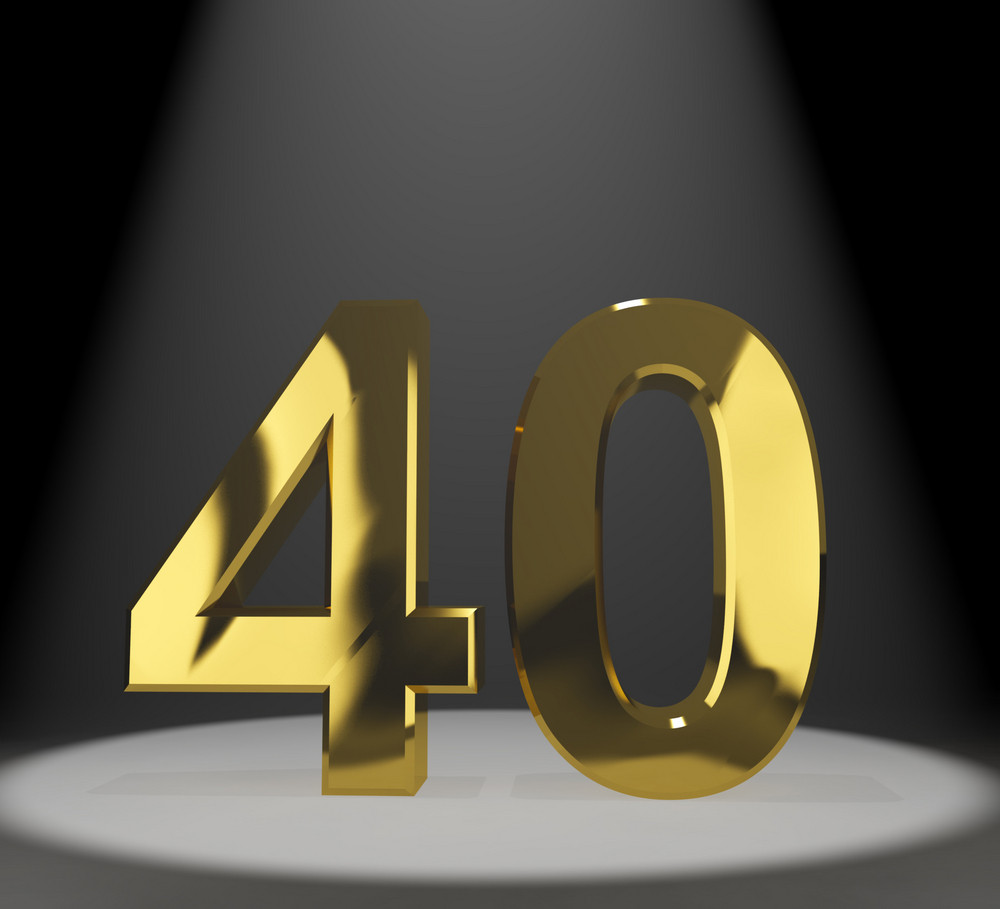 Gold 40th Or Forty 3d Number Representing Anniversary Or Birthday