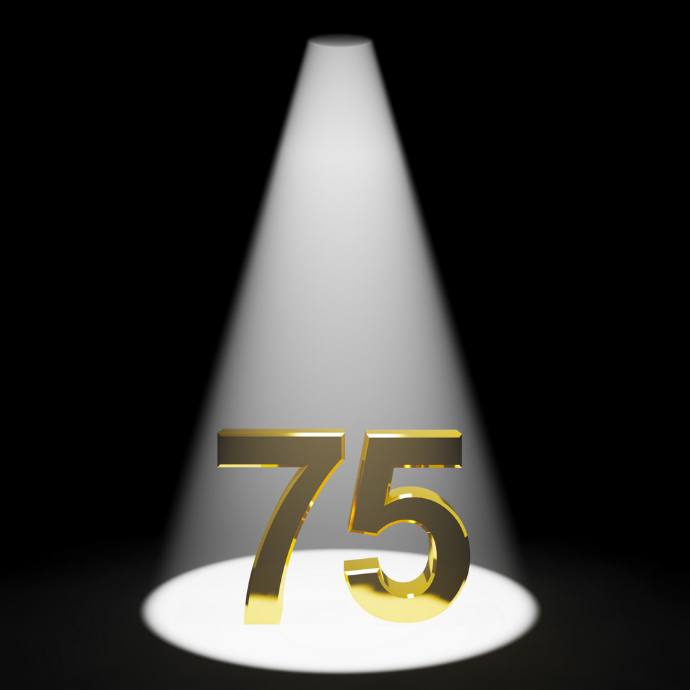 Gold 75th Or Seventy Five 3d Number Representing Anniversary Or Birthday
