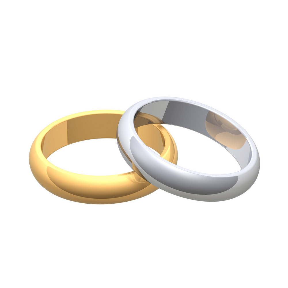Gold And Silver Wedding Rings Isolated On White.