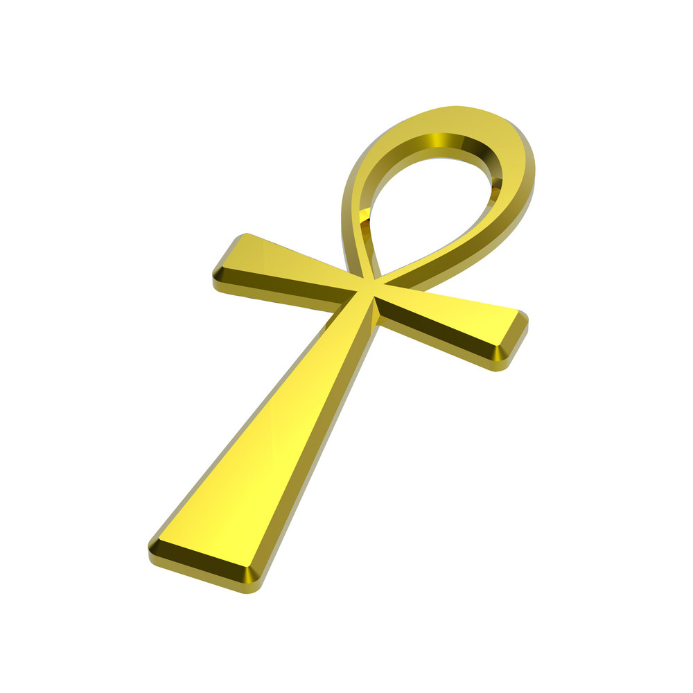Gold Ankh Symbol Isolated On The White.