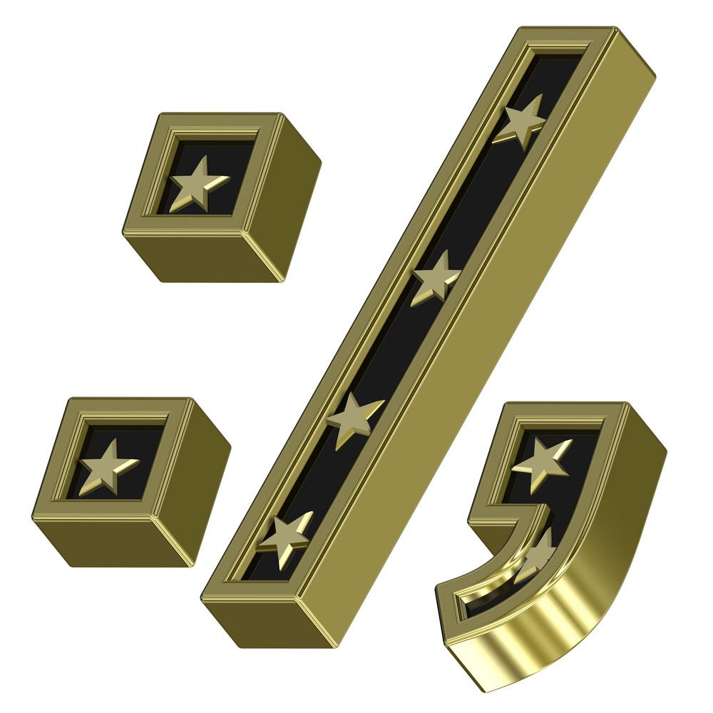 Gold-black Colon, Semicolon, Period, Comma With Stars Isolated On White