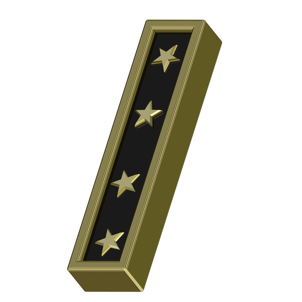 Gold-black Letter With Stars Isolated On White