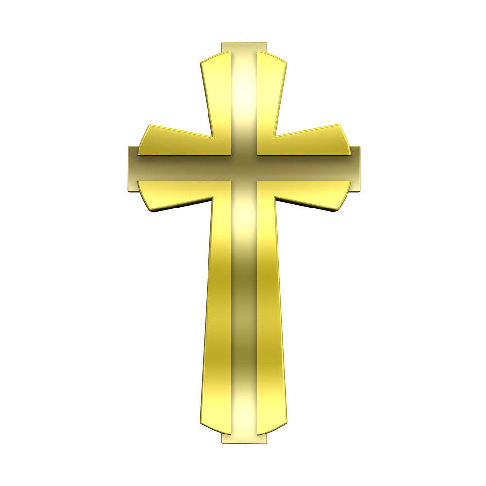 Gold Christian Cross Isolated On White.