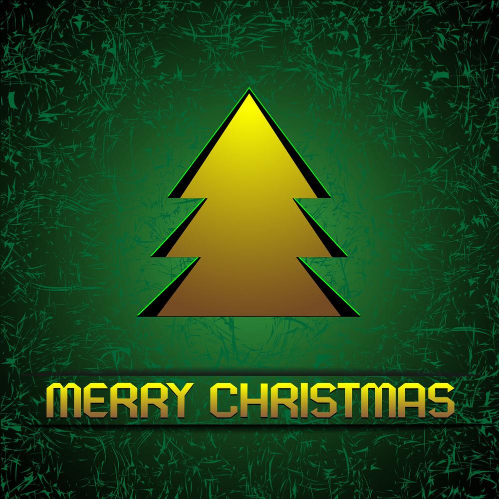 Gold Christmas Tree On Green