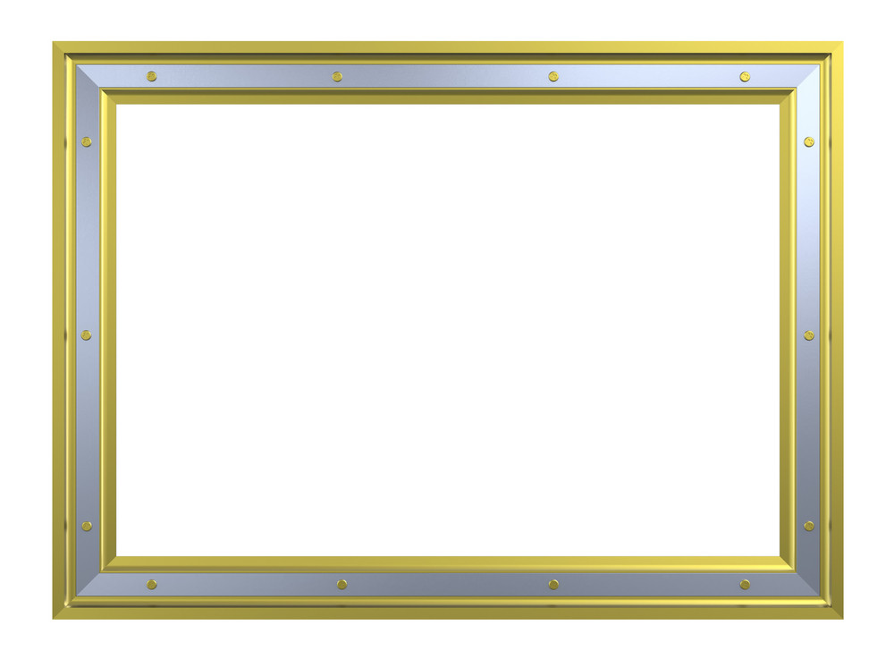 Gold-chrome Frame Isolated On White Background