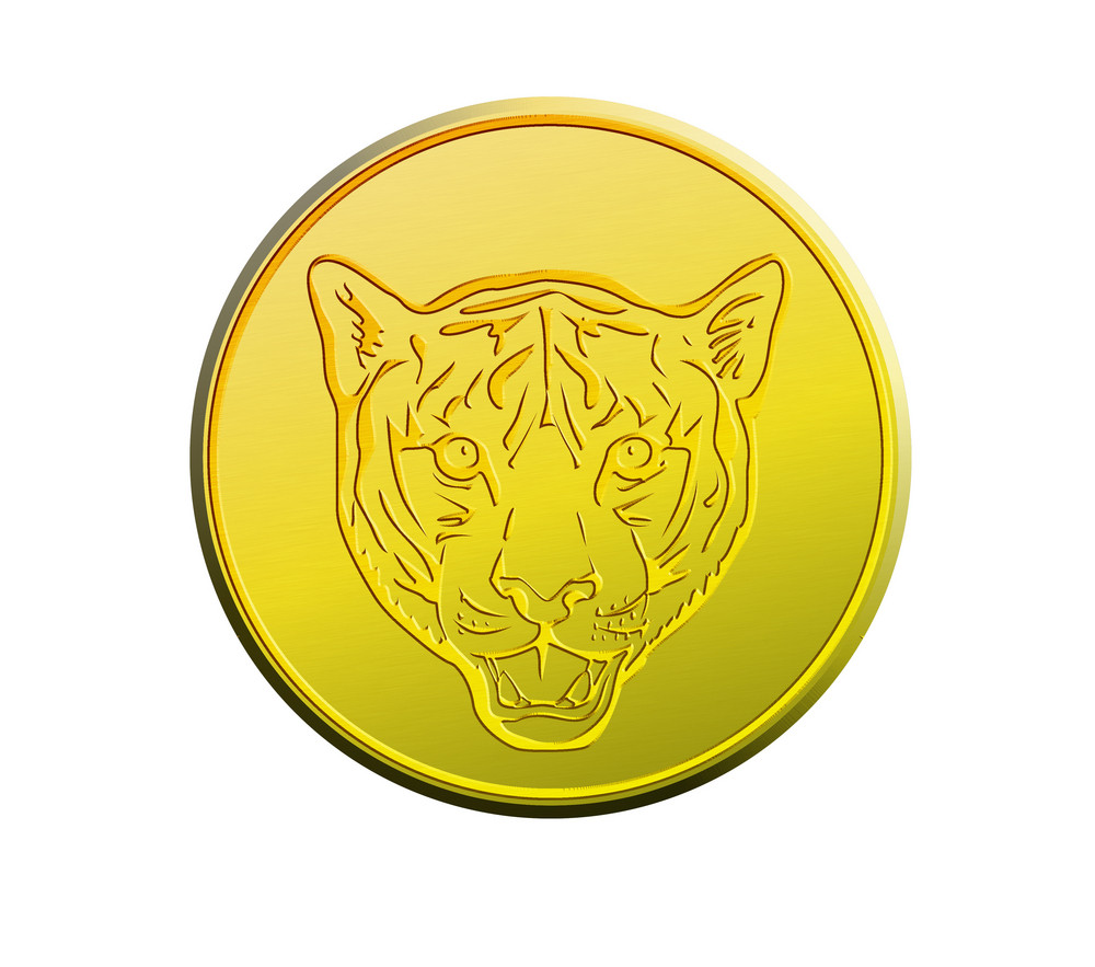 Gold Coin Showing  Head Of A Tiger