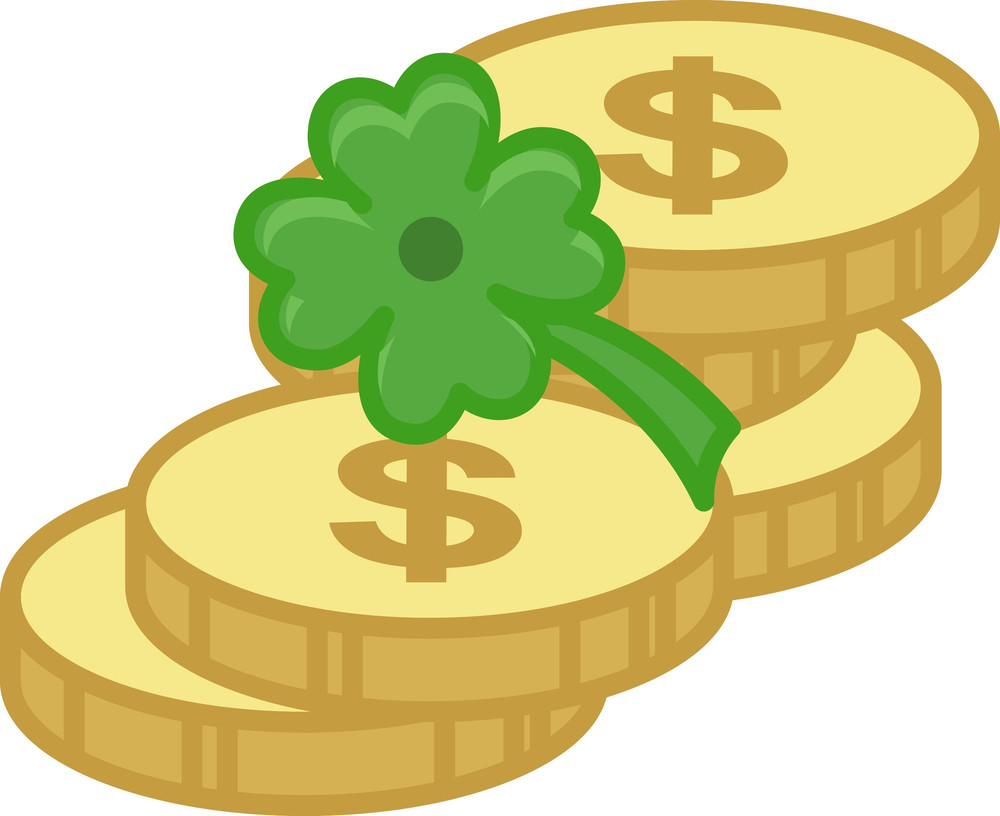 Gold Coins And Clover Leaf On St. Patrick's Day